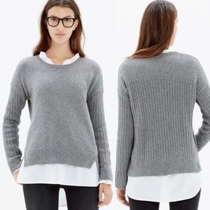 Madewell Grey Textured Mixed Knit Sweater